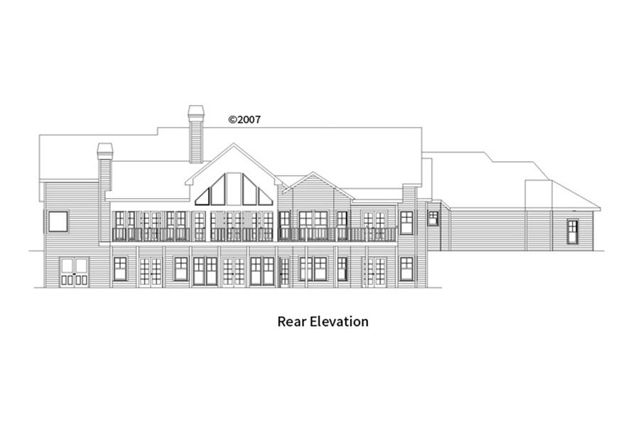 163-1055: Home Plan Rear Elevation