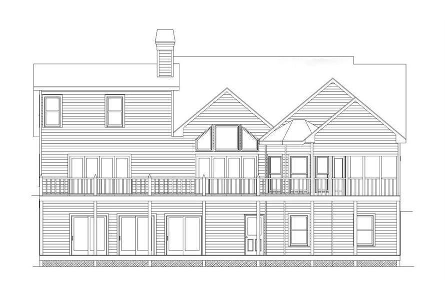 163-1056: Home Plan Rear Elevation