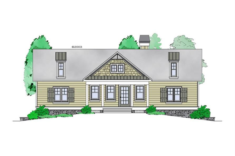 Front elevation of Craftsman home (ThePlanCollection: House Plan #163-1060)