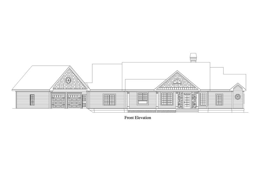 Front elevation of Craftsman home (ThePlanCollection: House Plan #163-1062)