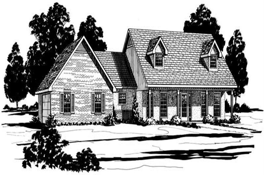 Traditional Home Plan Front Elevation.