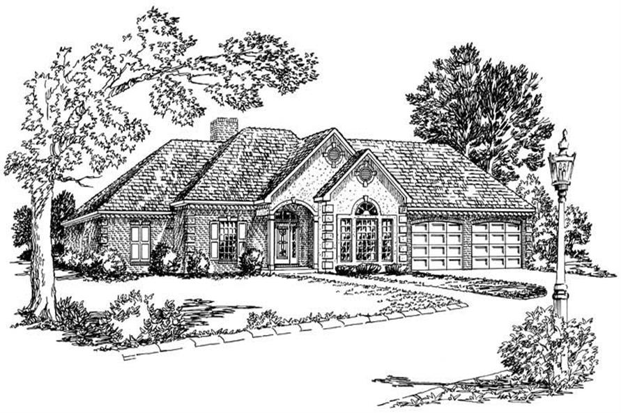 Country House Plans front elevation.