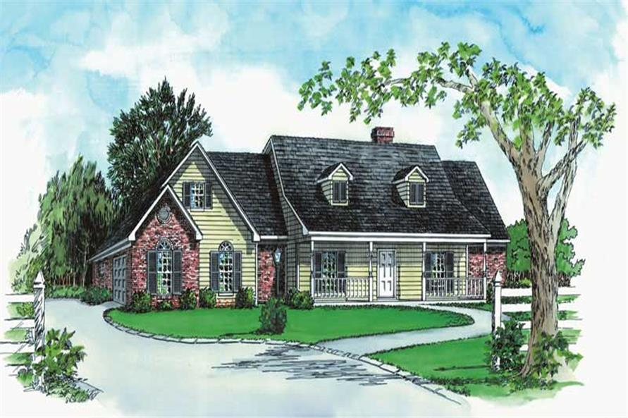 Main color elevation image for house plan # 1825