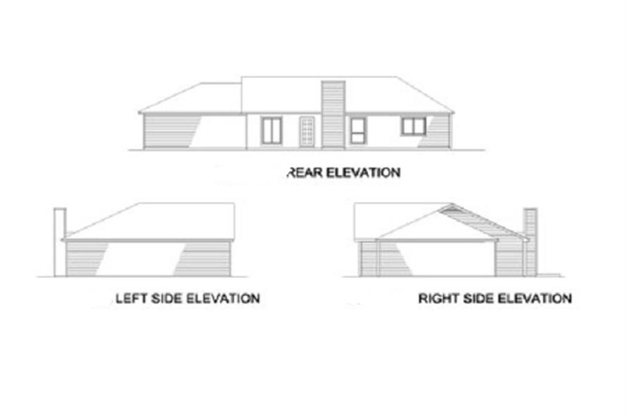 164-1199 house plan rear and side elevations