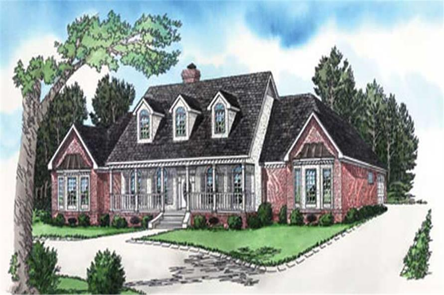Southern Houseplans colored front elevation.