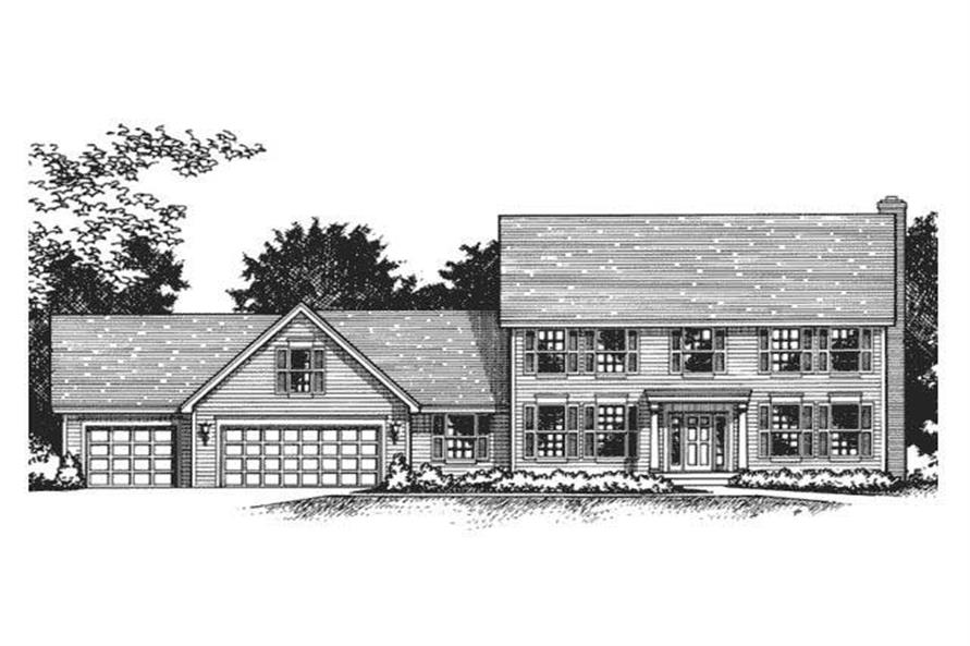 Colonial House Plans CLS-2404 front elevation.