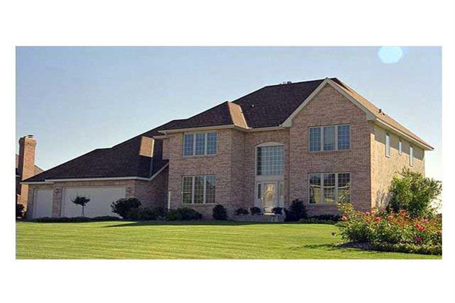 This image shows the front elevation of these European Home Plans (CLS-3207).