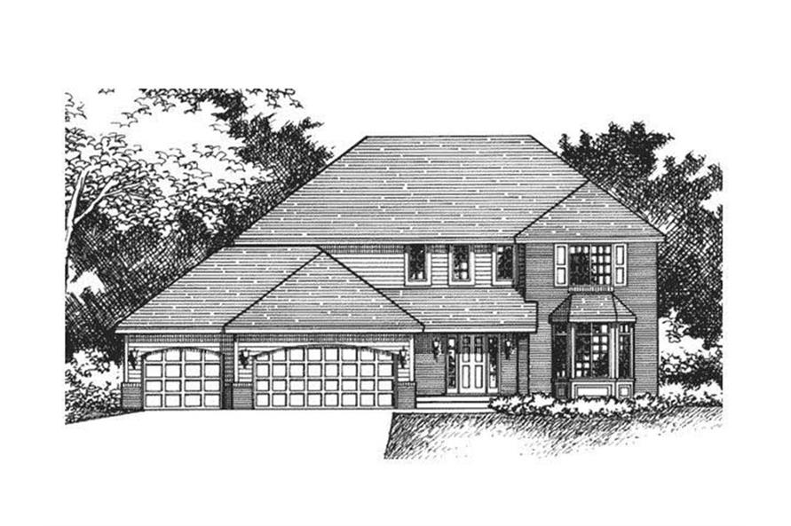 165-1040: Home Plan Front Elevation