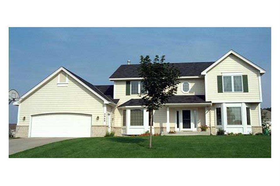 This image shows the front elevation of these Country Homeplans (CLS-2103).