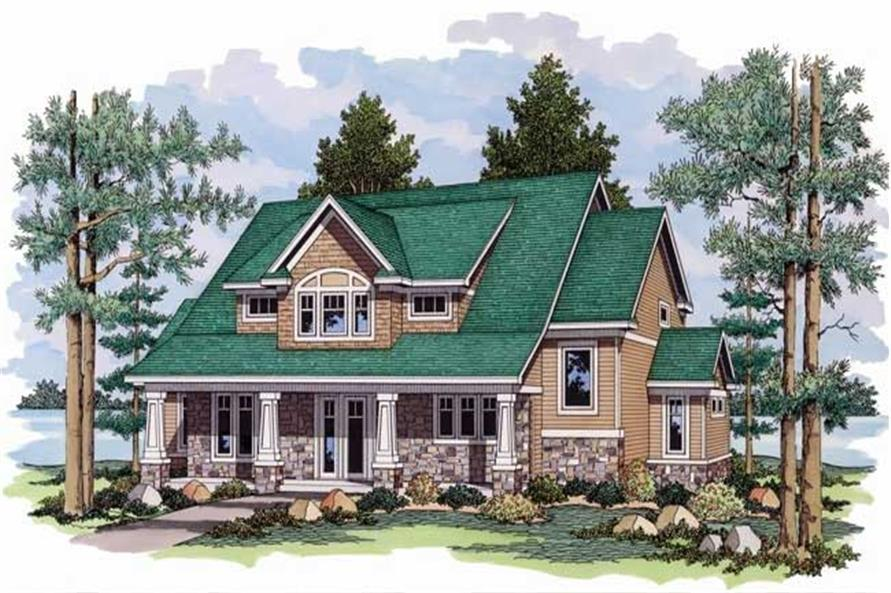 Bungalow Home Plans CLS-3022 colored front elevation rendering.