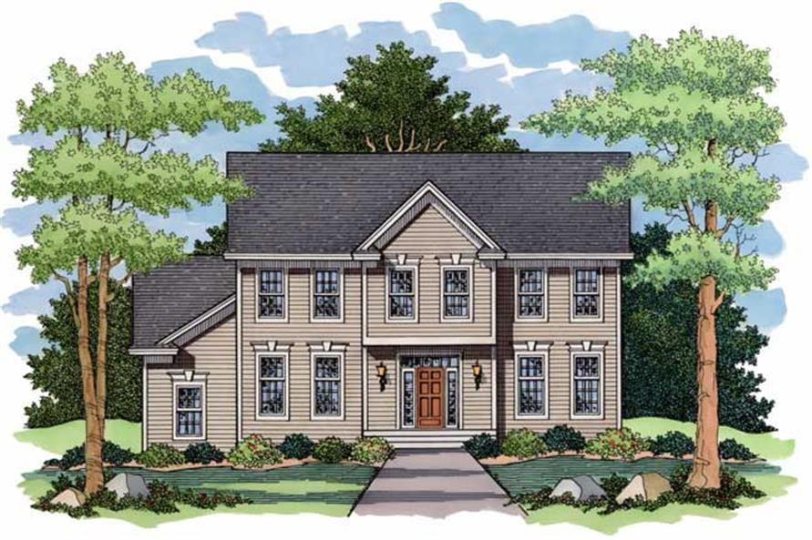 This image shows the colored front rendering for Country House Plans CLS-2611.