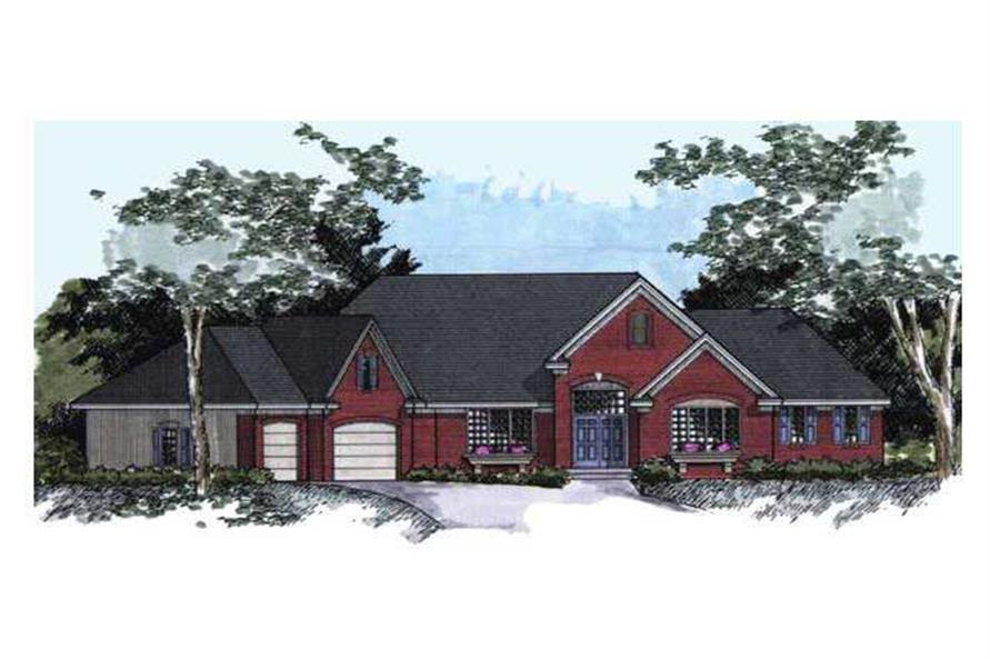 Colored Front Rendering For Country House Plans CLS-4600.