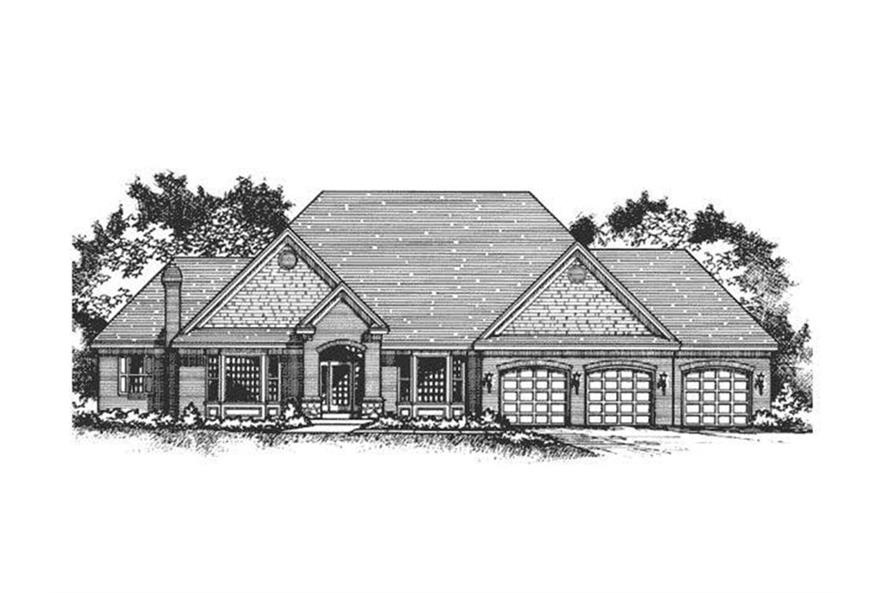 165-1122: Home Plan Front Elevation