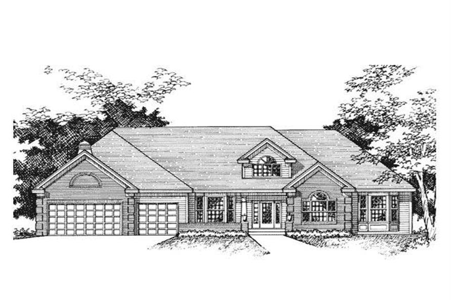 This is the front elevation rendering for these Ranch Homeplans.
