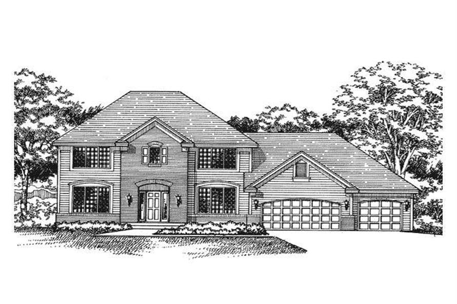 This image shows the front elevation of European Home Plans CLS-2301.
