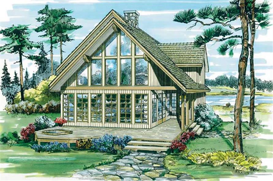 Front elevation of Contemporary home (ThePlanCollection: House Plan #167-1187)
