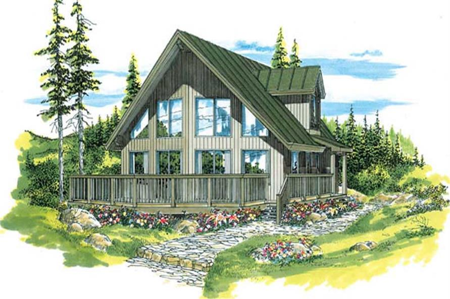 Front elevation of Log Cabin home (ThePlanCollection: House Plan #167-1384)