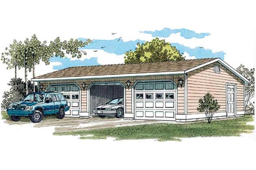 167-1393: Home Plan Rendering-Garage