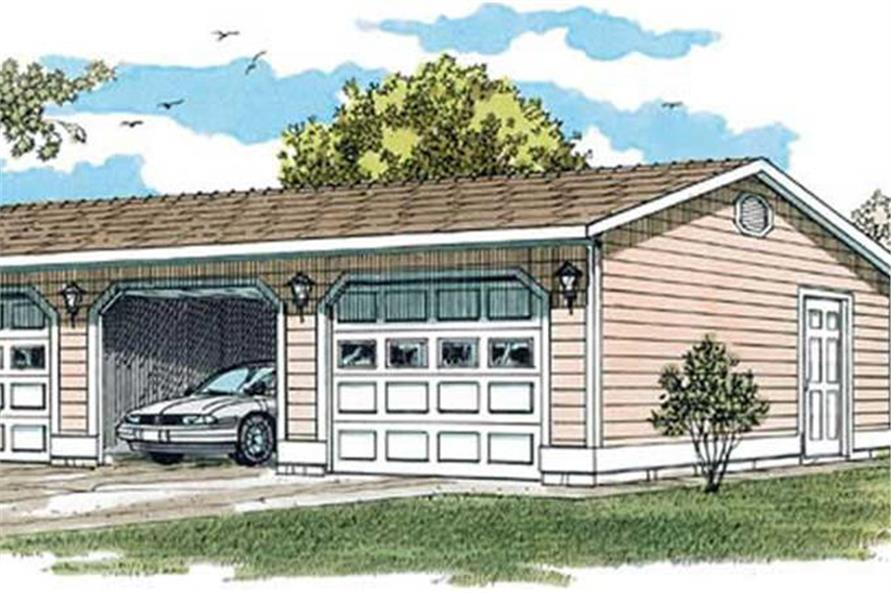 Color rendering of Garage plan (ThePlanCollection: House Plan #167-1393)