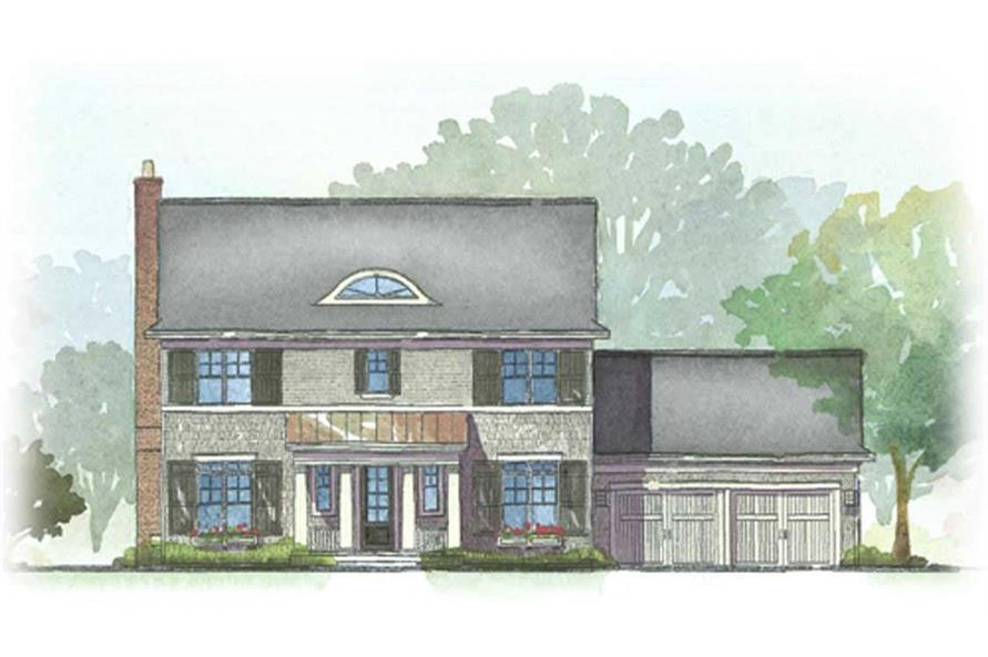 This is a colored elevation of the Durham House Plans.
