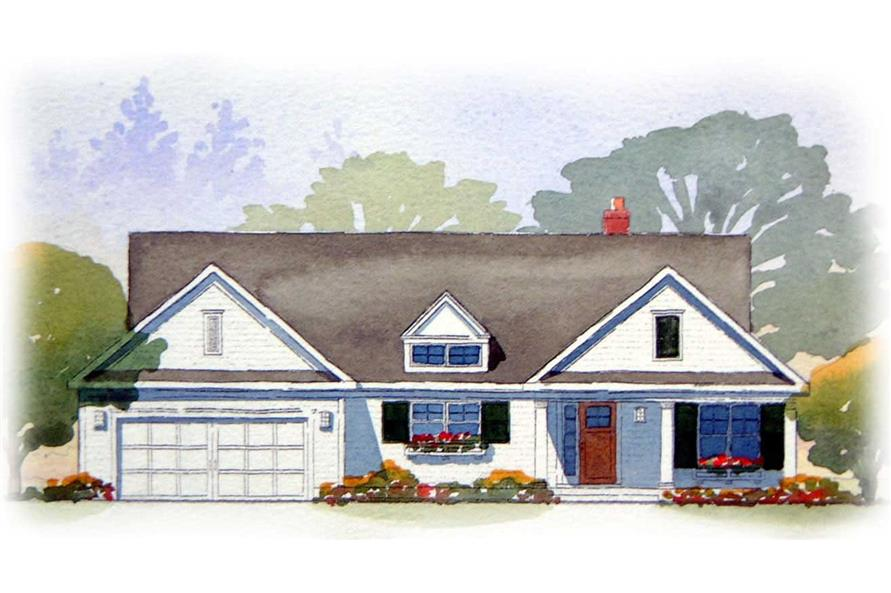 This is a colorful rendering of these Ranch Homeplans.