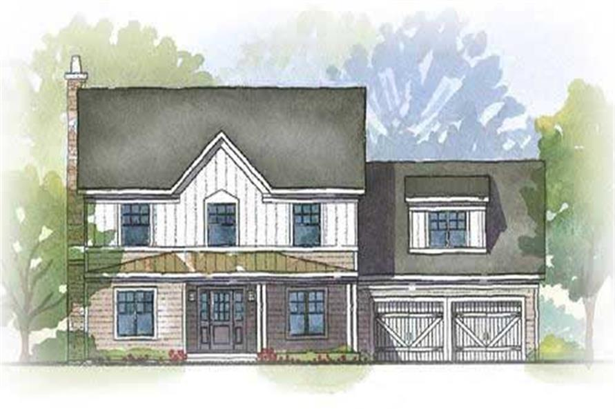 This image shows an artist's rendering of these Traditional Homeplans.