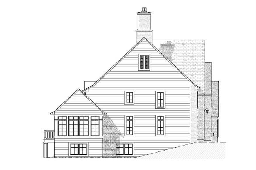 168-1008 house plan left elevation