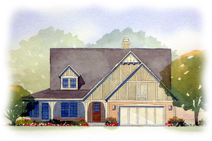 This is a colored rendering of the Iris Tudor House Plans.