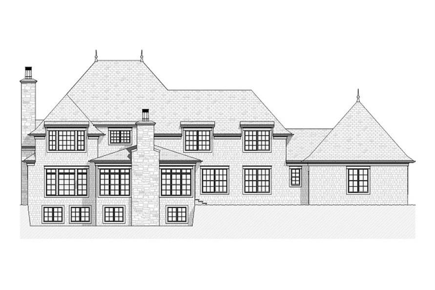 168-1024 house plan rear elevation