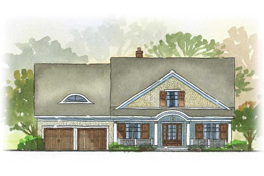 This is an artist's rendering of the front of this set of Country House Plans.