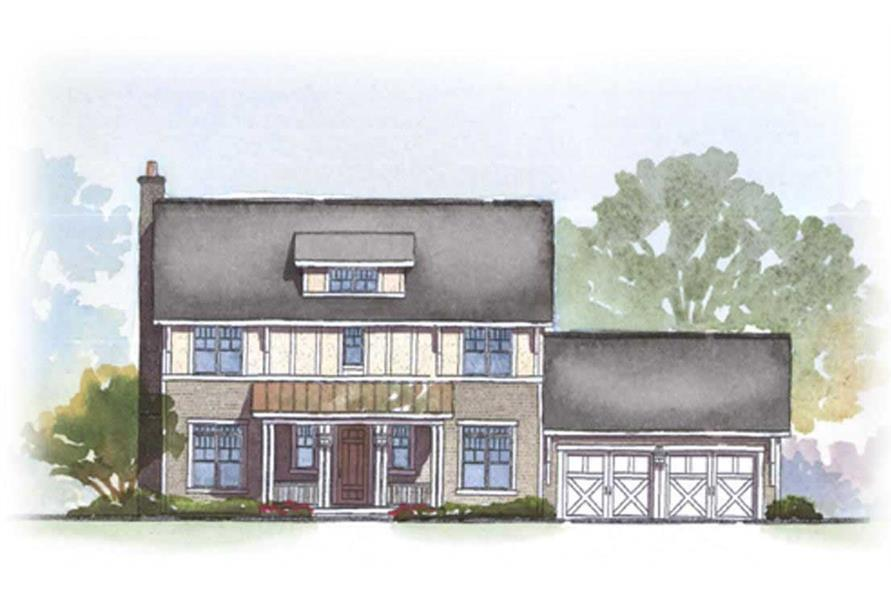 This image shows the front rendering of these Traditional Houseplans.