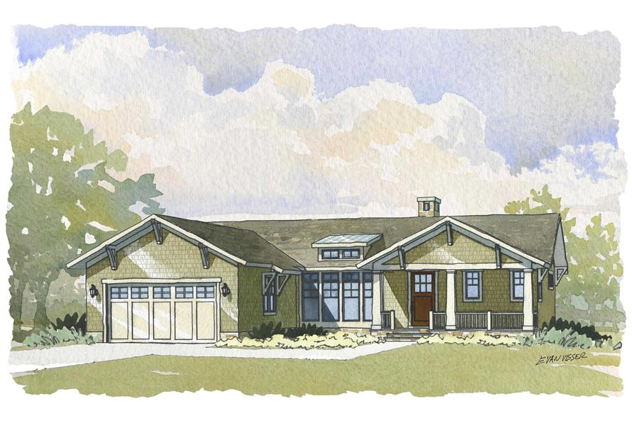 This is a colorful rendering of the front elevation of these Ranch House Plans.