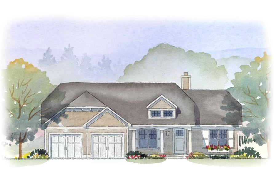 This is an artist's rendering of these Ranch Houseplans.