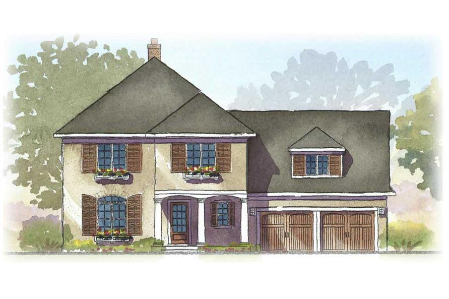 This is a colored rendering of these European House Plans.