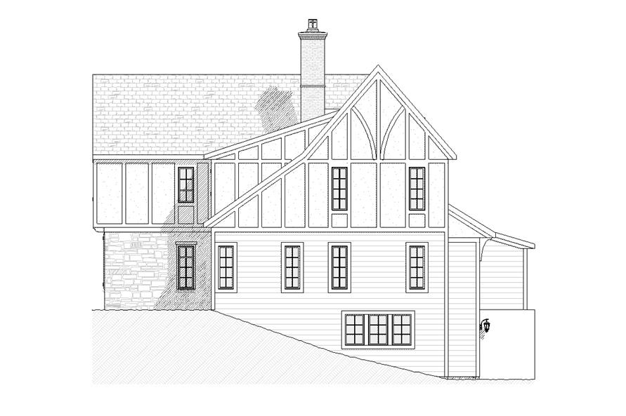168-1063 house plan right elevation