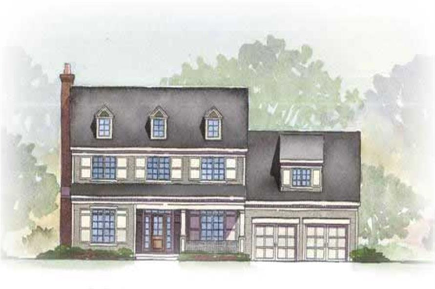 This is a colored elevation for these Colonial House Plans.