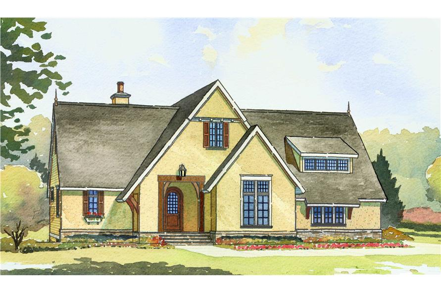 This image shows the front elevation of these Home Plans.