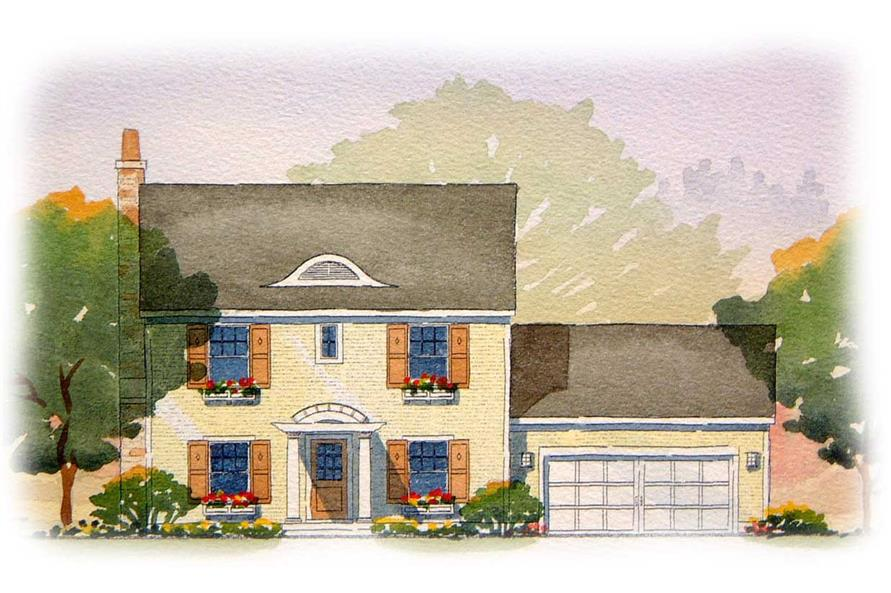 This image shows the front elevation of these Traditional House Plans.