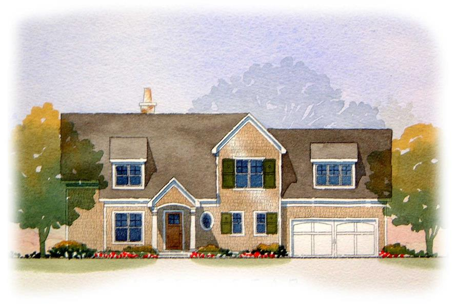 This picture is an artist's rendering of these Traditional Homeplans.
