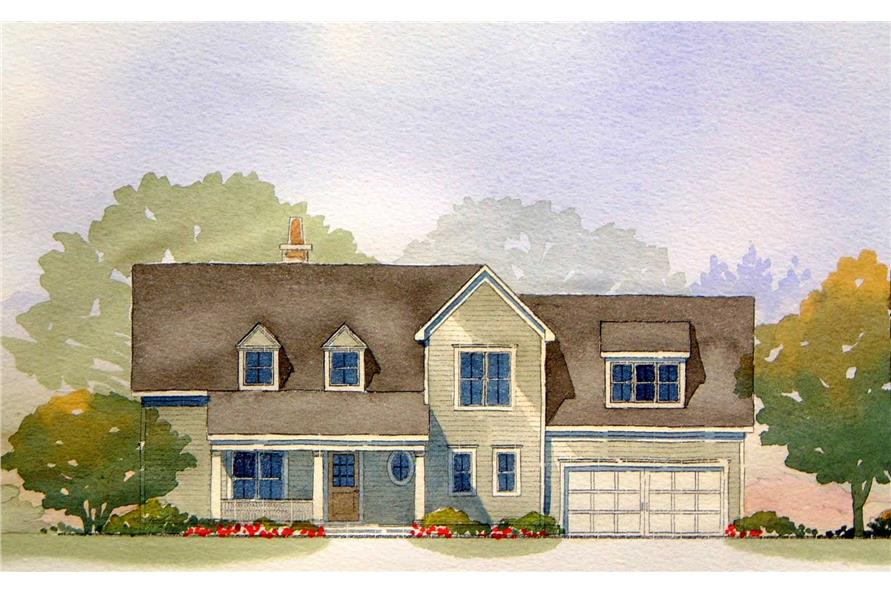 This is a colored front elevation image for Cape Cod Houseplans Nance.