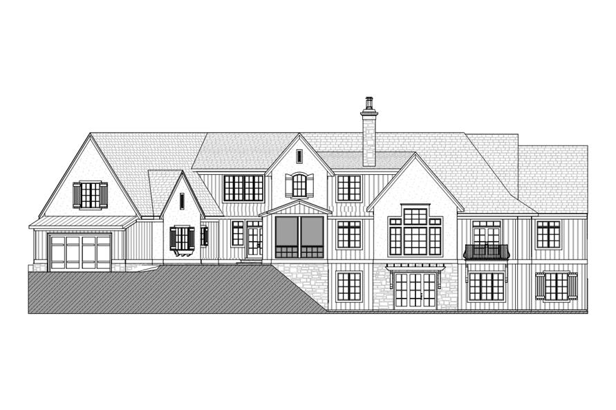 168-1104: Home Plan Rear Elevation