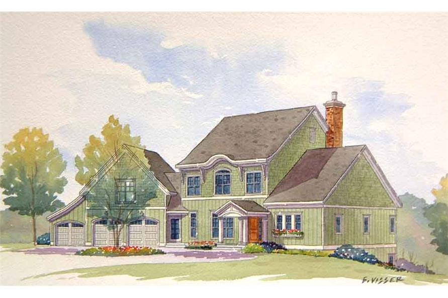 Front elevation of Traditional home (ThePlanCollection: House Plan #168-1106)