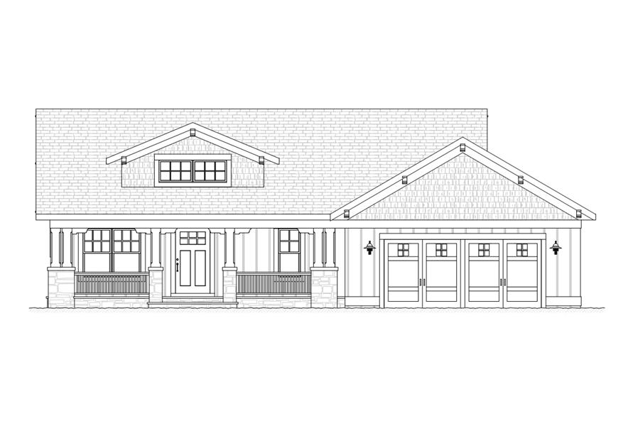 168-1109: Home Plan Front Elevation