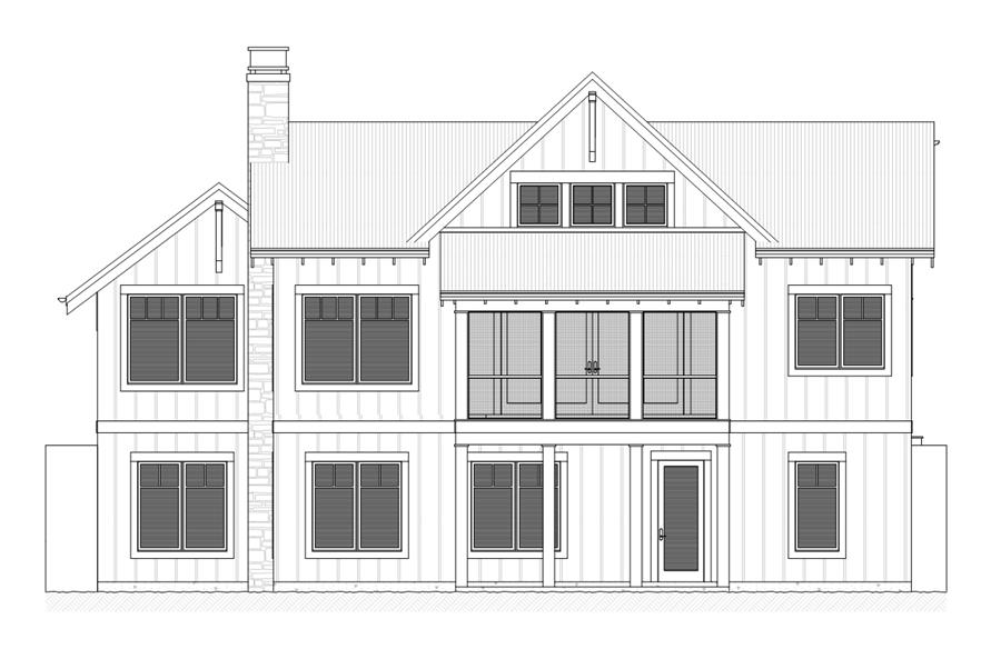 168-1110: Home Plan Rear Elevation