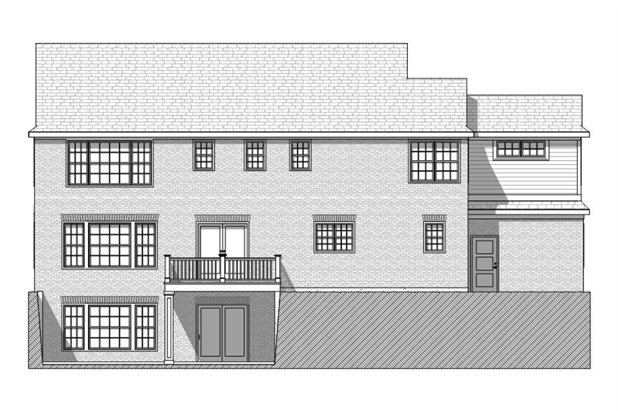 168-1115: Home Plan Rear Elevation