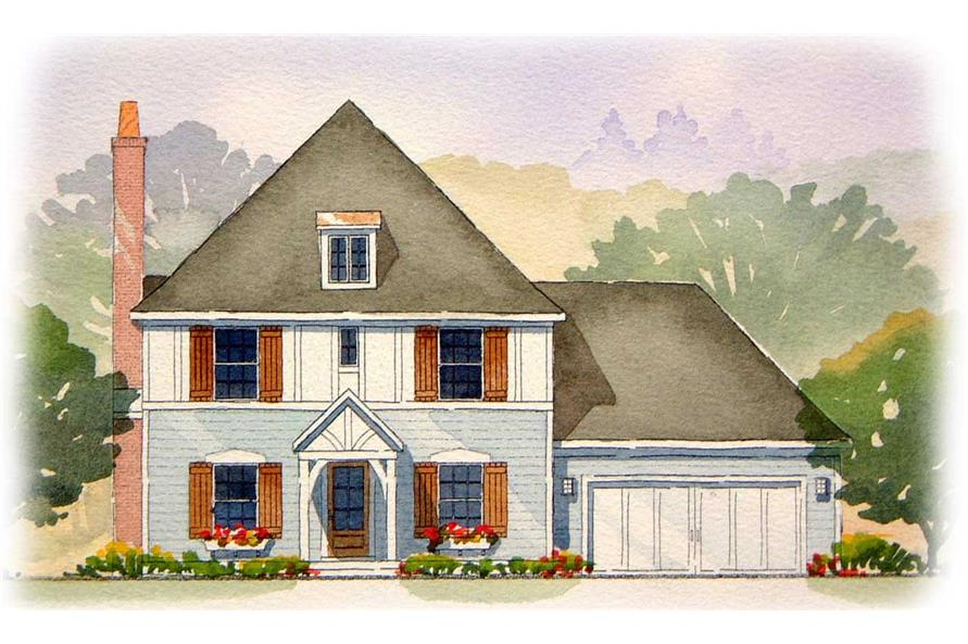 This is a colorful rendering of these European Tudor Houseplans.