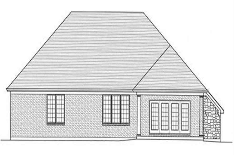 169-1026 house plan rear elevation