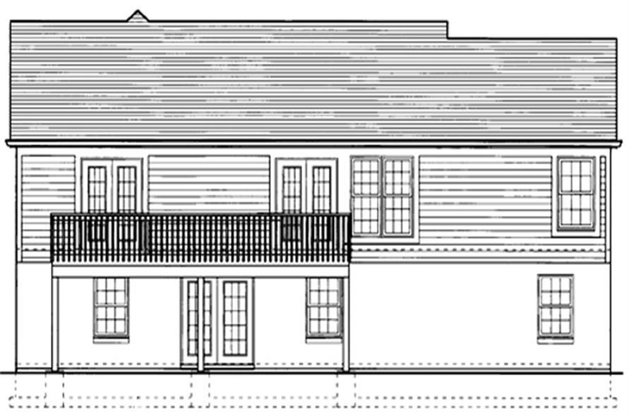 169-1028 house plan rear elevation