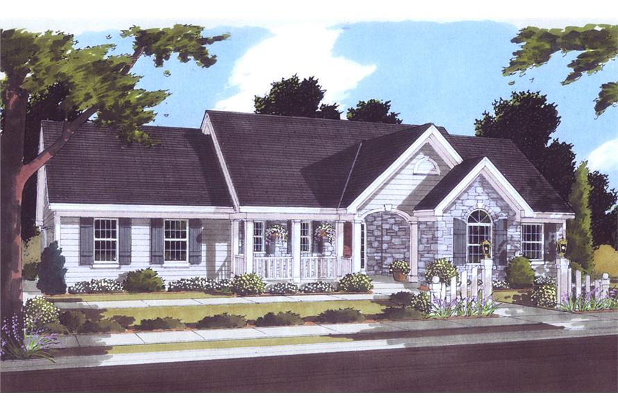 Front elevation of Country home (ThePlanCollection: House Plan #169-1041)