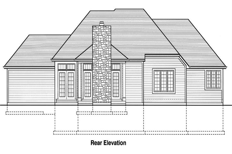 169-1042: Home Plan Rear Elevation